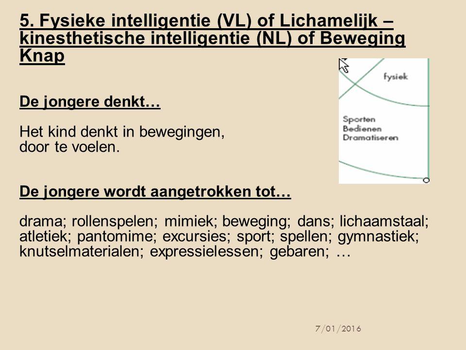 5. Fysieke intelligentie (VL) of Lichamelijk – kinesthetische intelligentie (NL) of Beweging Knap