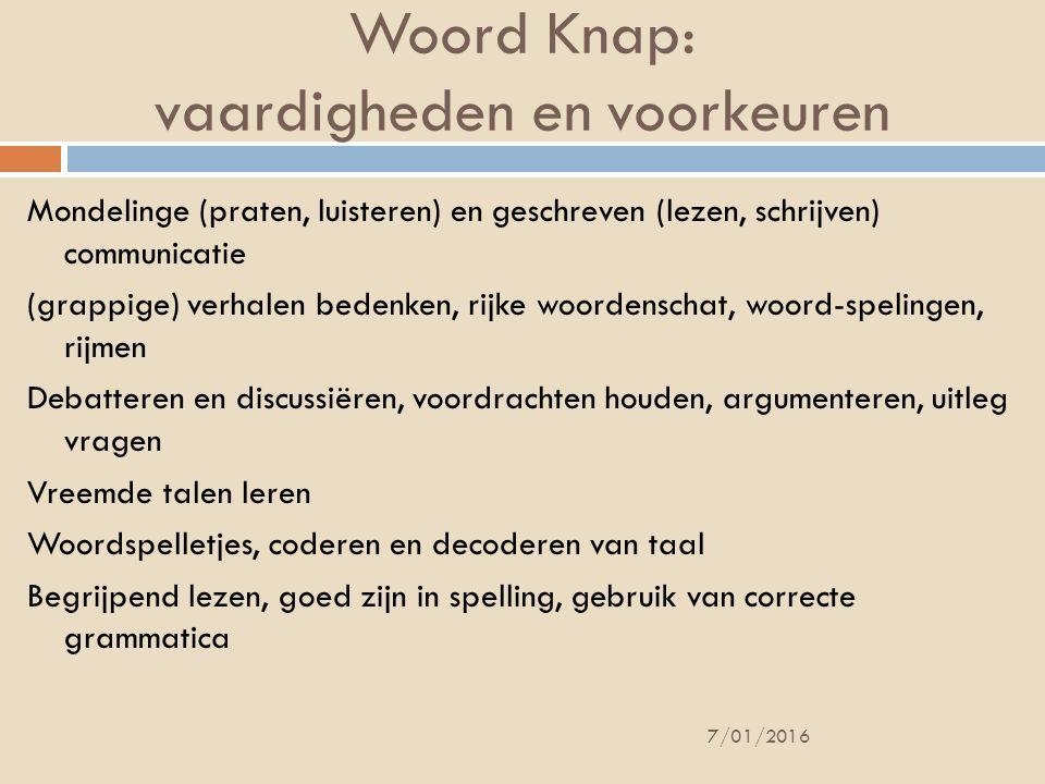 Woord Knap: vaardigheden en voorkeuren