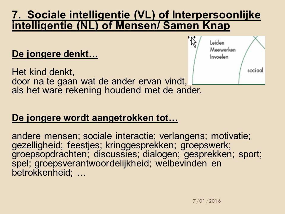 7. Sociale intelligentie (VL) of Interpersoonlijke intelligentie (NL) of Mensen/ Samen Knap