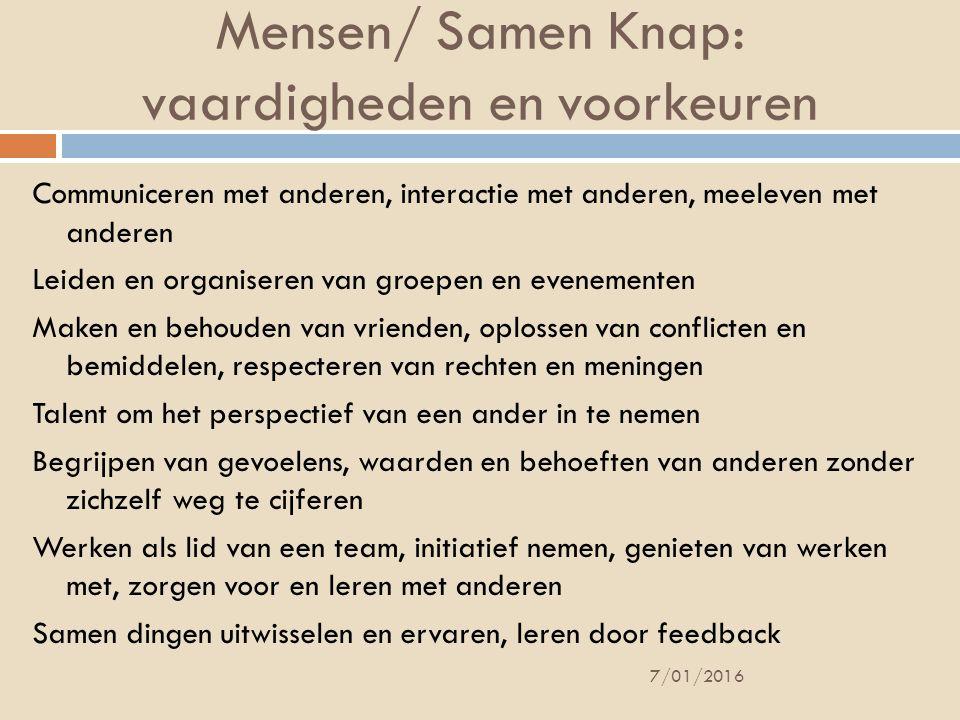 Mensen/ Samen Knap: vaardigheden en voorkeuren
