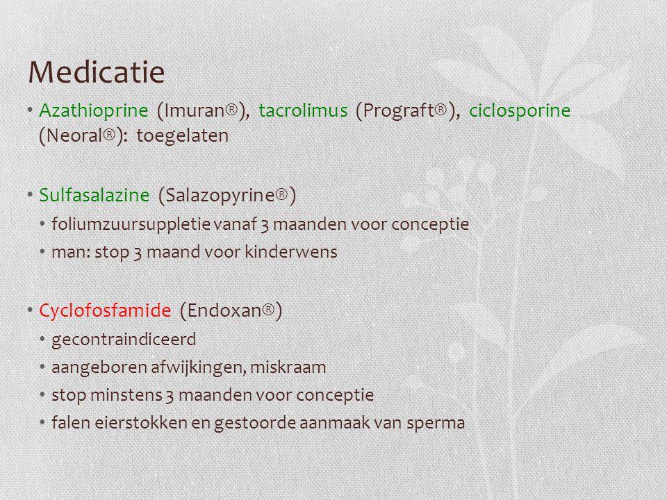 Medicatie Azathioprine (Imuran®), tacrolimus (Prograft®), ciclosporine (Neoral®): toegelaten. Sulfasalazine (Salazopyrine®)