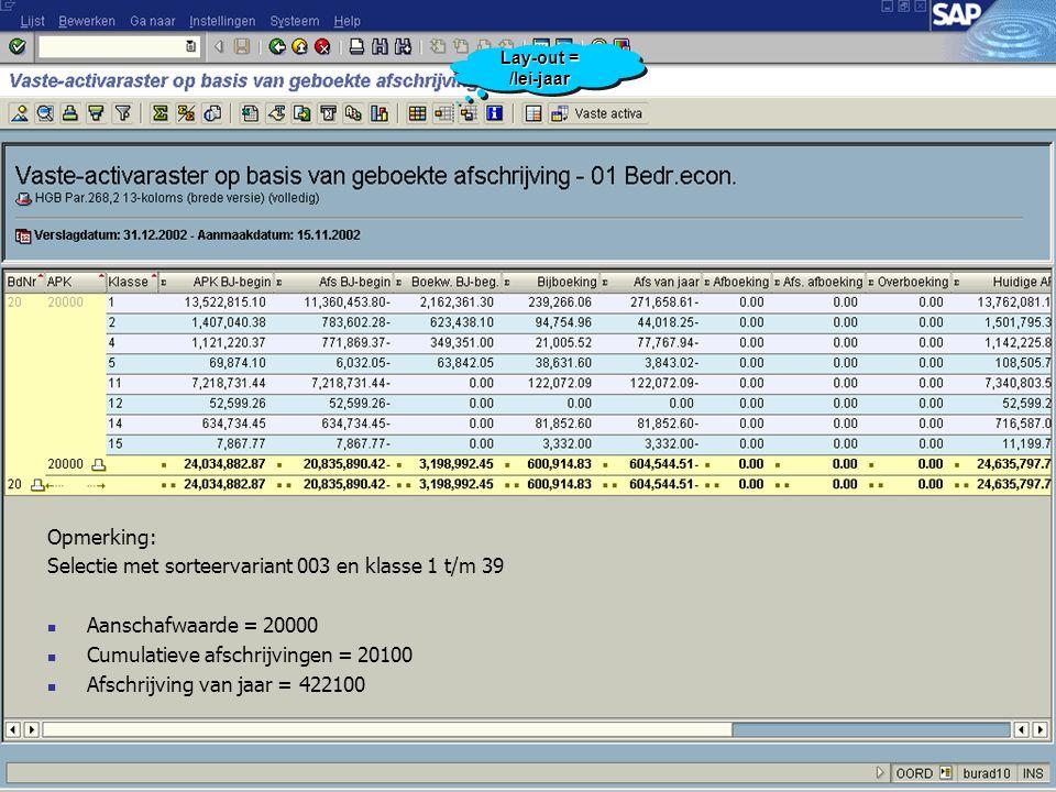 Selectie met sorteervariant 003 en klasse 1 t/m 39
