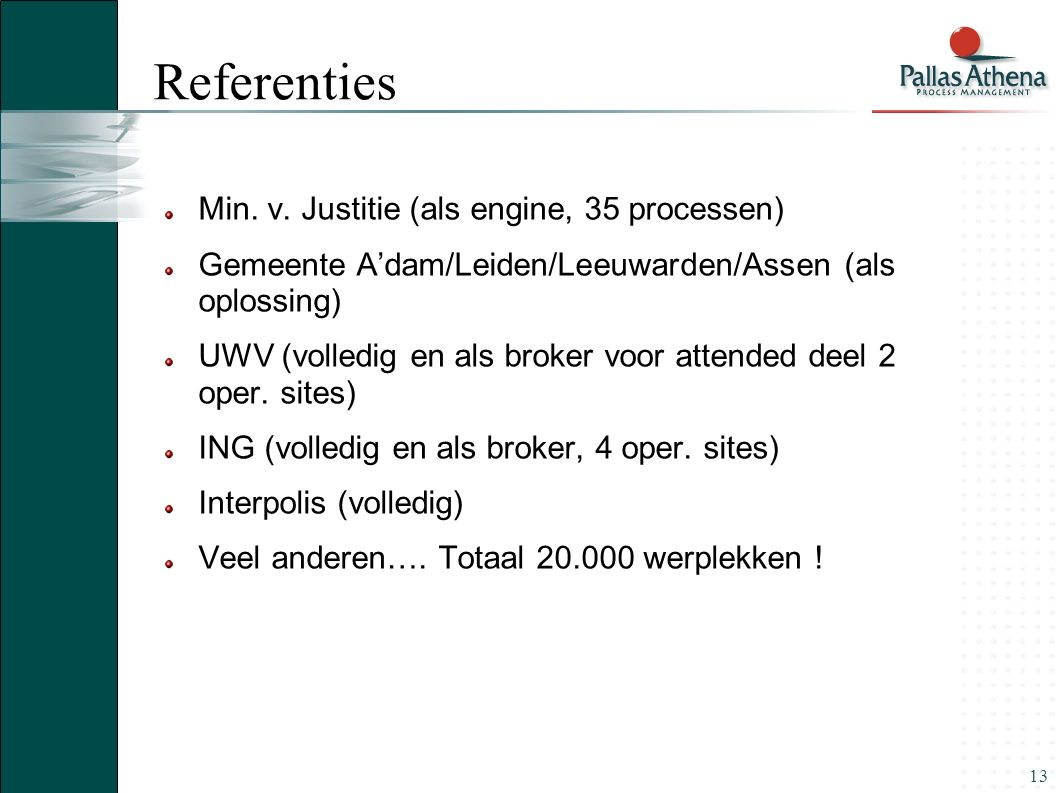 Referenties Min. v. Justitie (als engine, 35 processen)