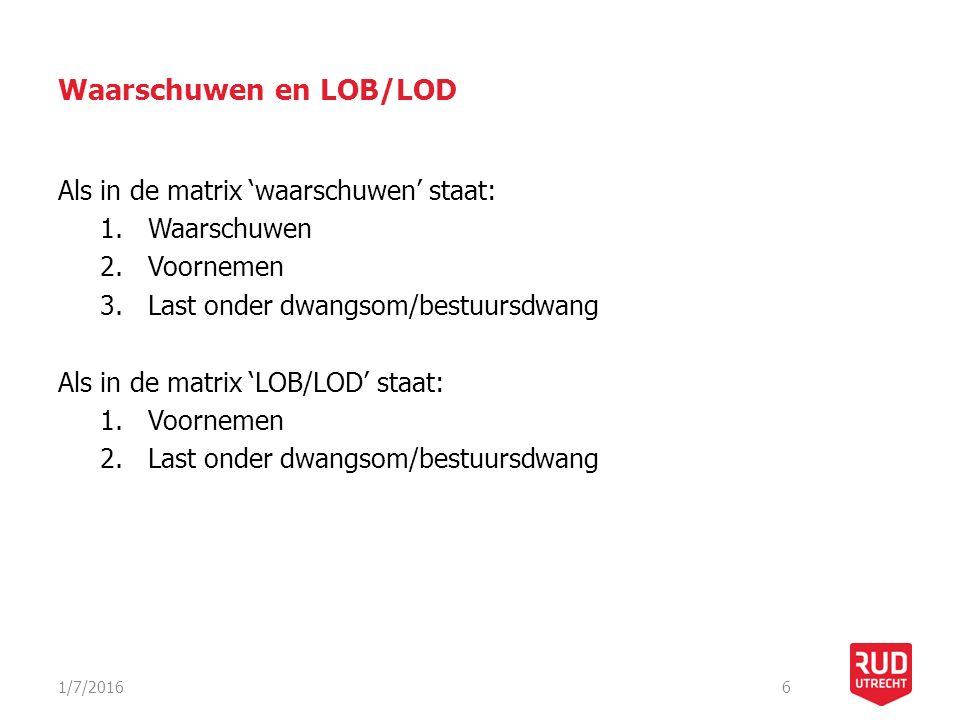 Waarschuwen en LOB/LOD