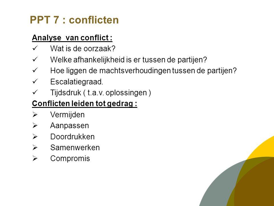 PPT 7 : conflicten Analyse van conflict : Wat is de oorzaak