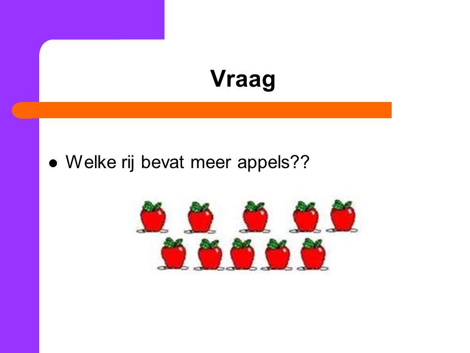 Vraag Welke rij bevat meer appels