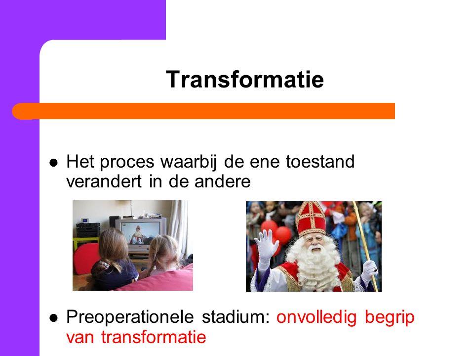 Transformatie Het proces waarbij de ene toestand verandert in de andere.