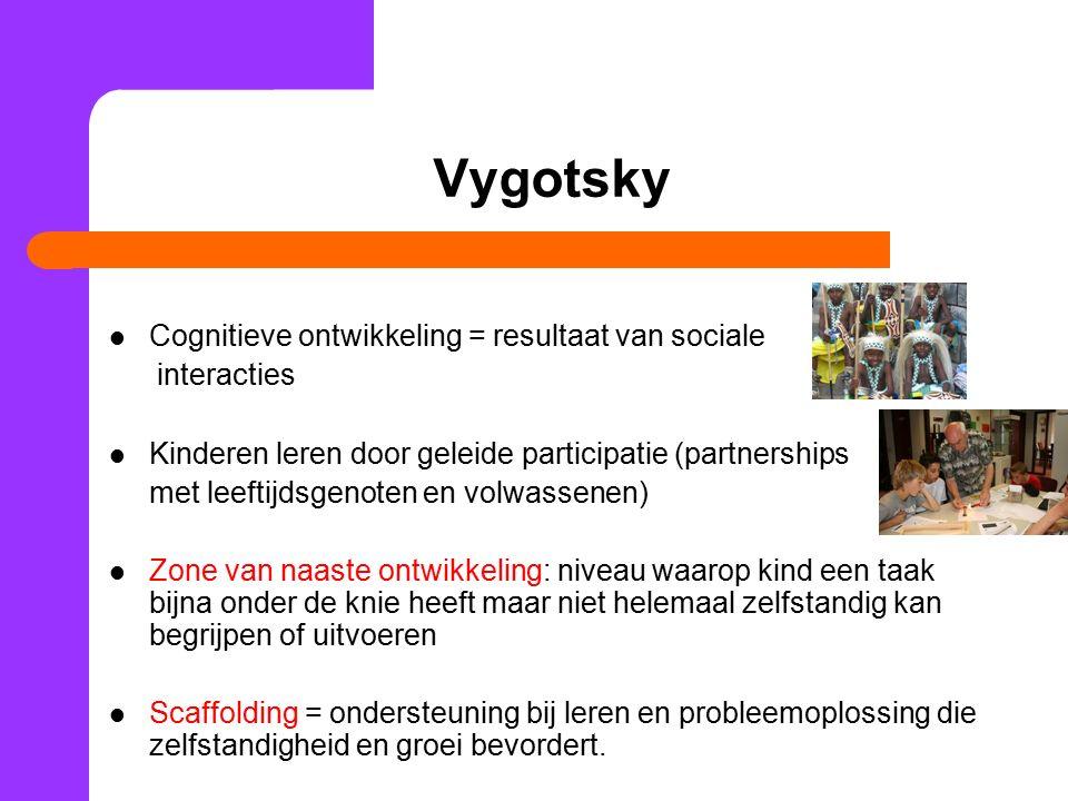 Vygotsky Cognitieve ontwikkeling = resultaat van sociale interacties