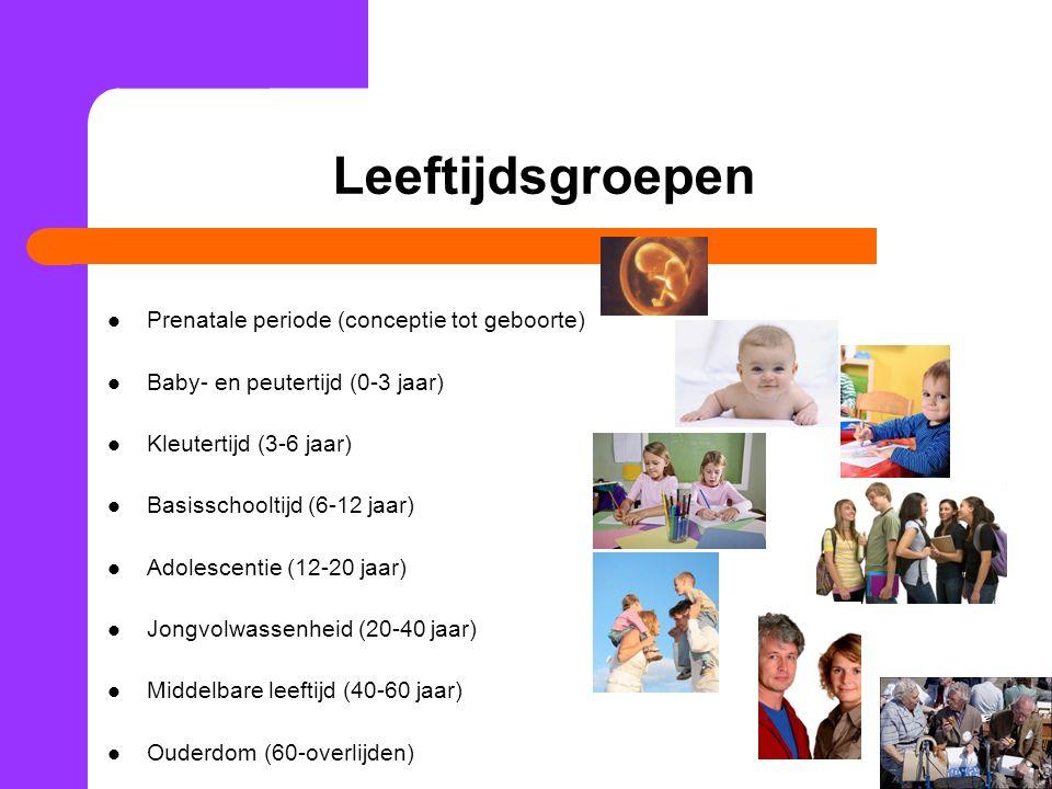 Leeftijdsgroepen Prenatale periode (conceptie tot geboorte)