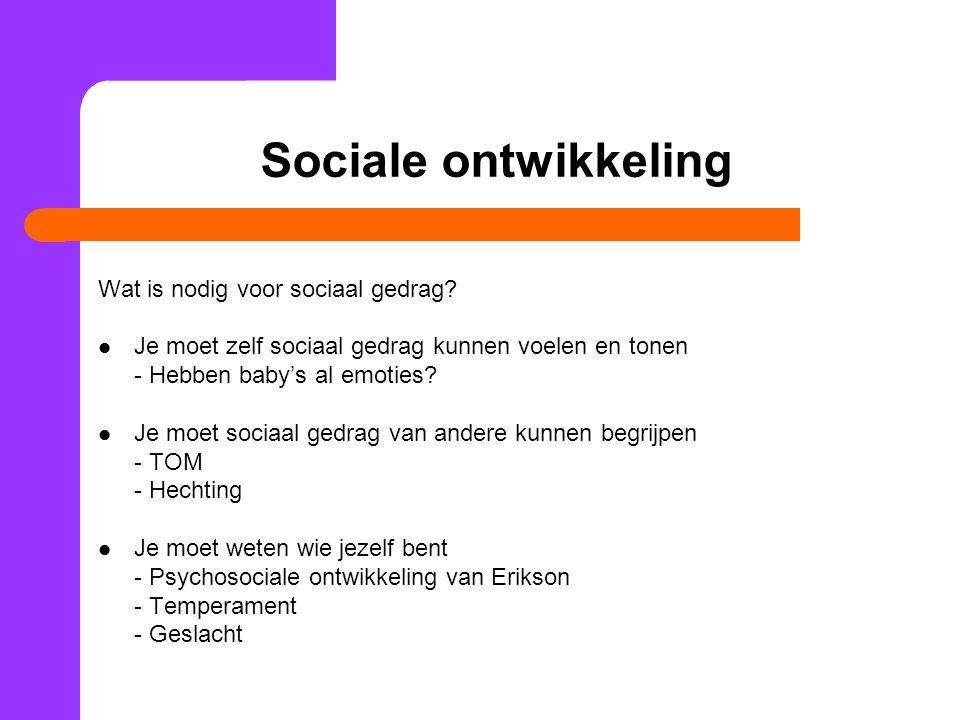 Sociale ontwikkeling Wat is nodig voor sociaal gedrag