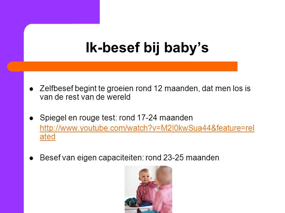 Ik-besef bij baby's Zelfbesef begint te groeien rond 12 maanden, dat men los is van de rest van de wereld.