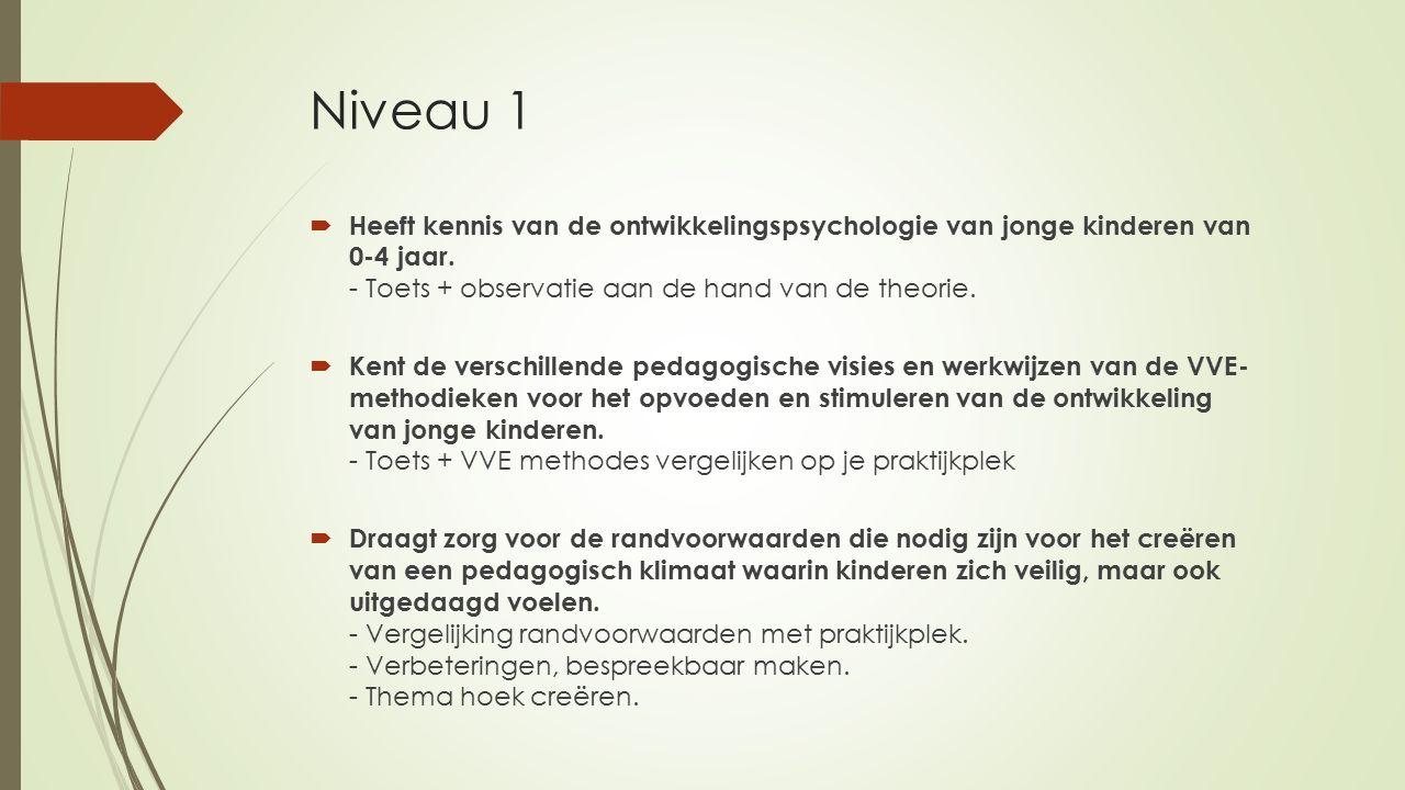 Niveau 1 Heeft kennis van de ontwikkelingspsychologie van jonge kinderen van 0-4 jaar. - Toets + observatie aan de hand van de theorie.