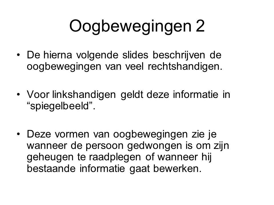 Oogbewegingen 2 De hierna volgende slides beschrijven de oogbewegingen van veel rechtshandigen.