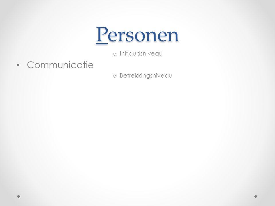 Personen Inhoudsniveau Communicatie Betrekkingsniveau
