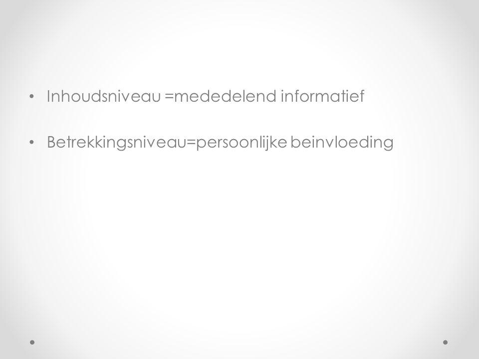 Inhoudsniveau =mededelend informatief