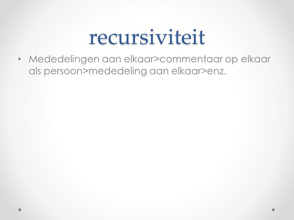 recursiviteit Mededelingen aan elkaar>commentaar op elkaar als persoon>mededeling aan elkaar>enz.