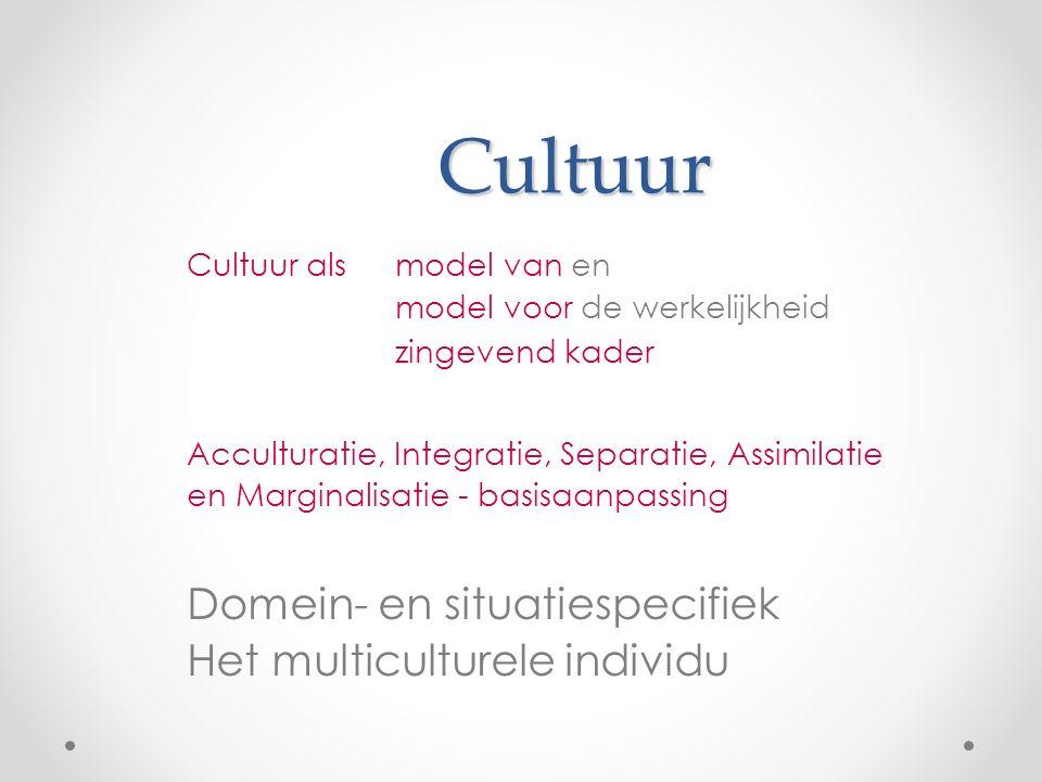 Cultuur Domein- en situatiespecifiek Het multiculturele individu