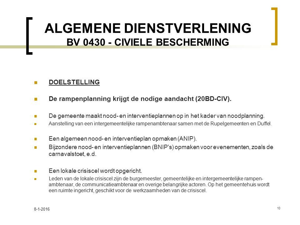 ALGEMENE DIENSTVERLENING BV 0430 - CIVIELE BESCHERMING