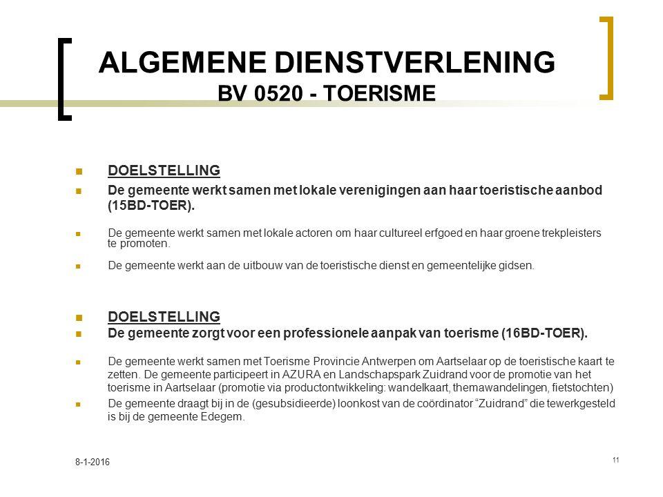 ALGEMENE DIENSTVERLENING BV 0520 - TOERISME