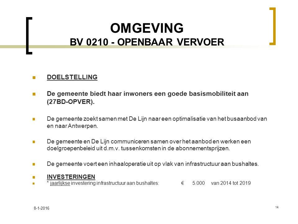 OMGEVING BV 0210 - OPENBAAR VERVOER