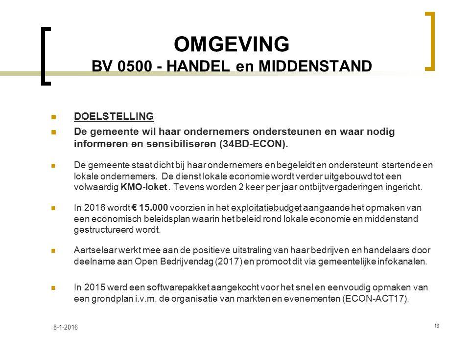 OMGEVING BV 0500 - HANDEL en MIDDENSTAND