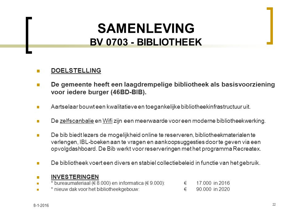 SAMENLEVING BV 0703 - BIBLIOTHEEK