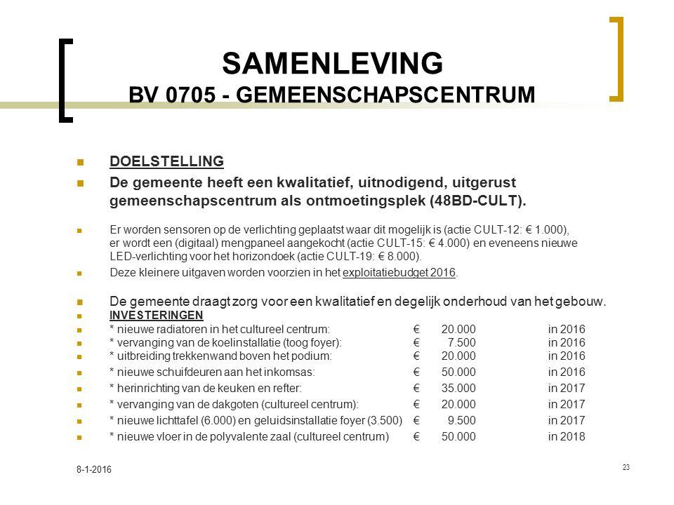 SAMENLEVING BV 0705 - GEMEENSCHAPSCENTRUM