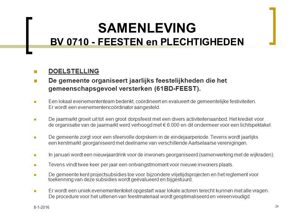 SAMENLEVING BV 0710 - FEESTEN en PLECHTIGHEDEN