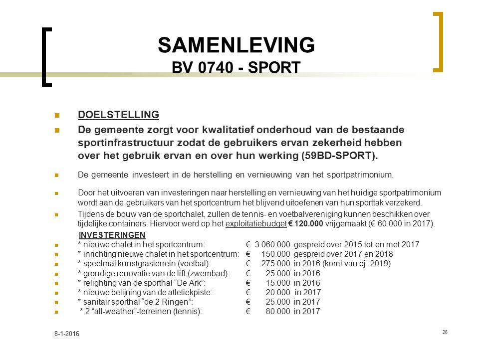 SAMENLEVING BV 0740 - SPORT DOELSTELLING