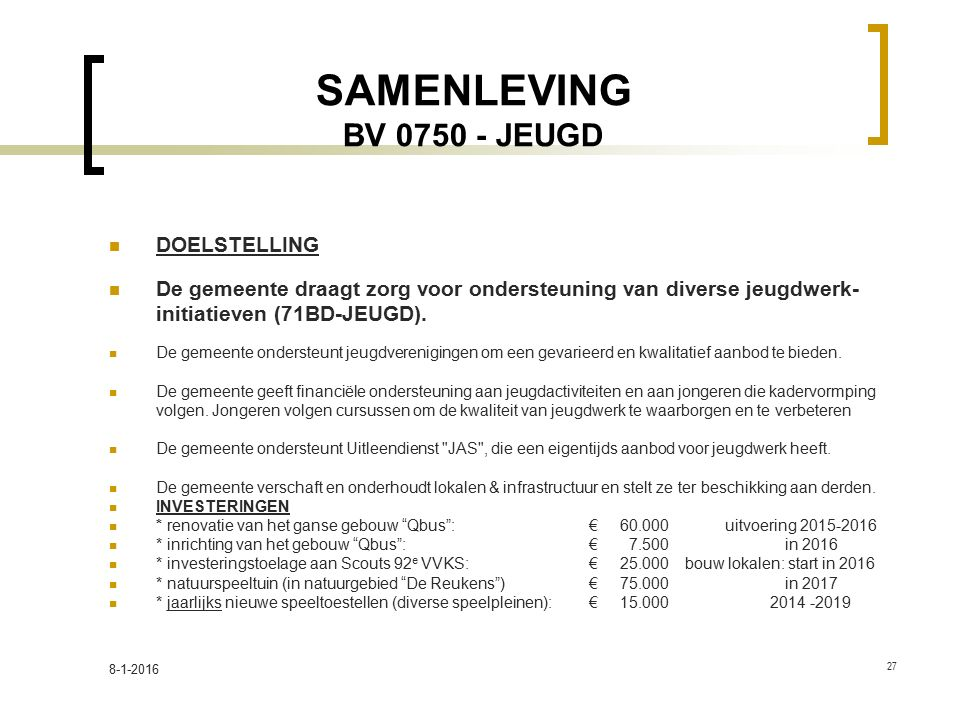 SAMENLEVING BV 0750 - JEUGD DOELSTELLING