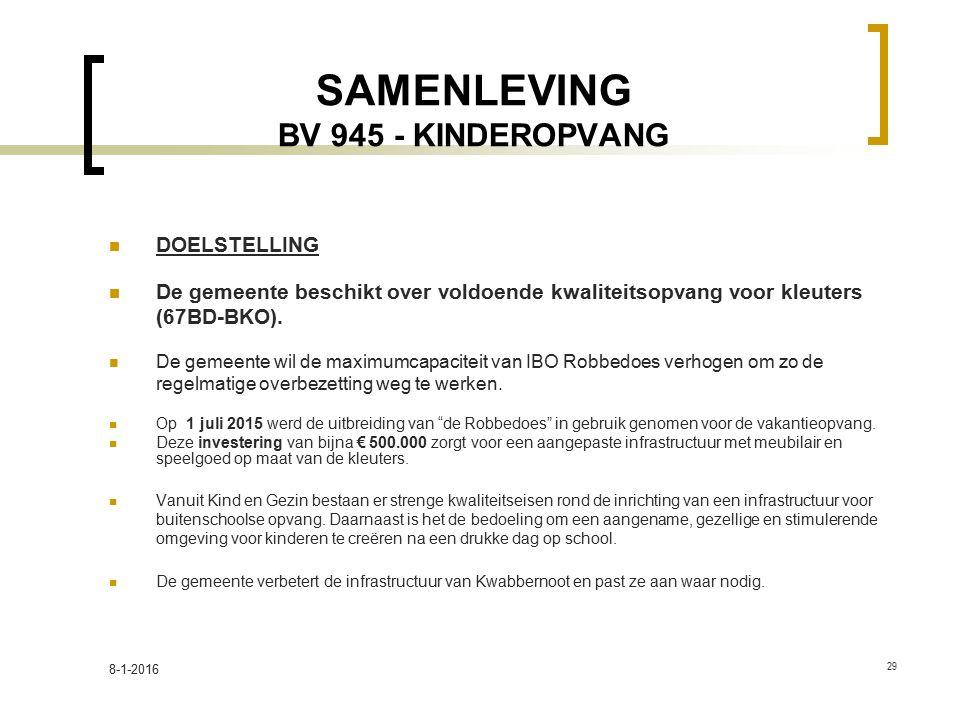 SAMENLEVING BV 945 - KINDEROPVANG