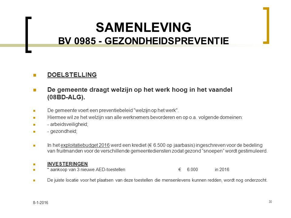 SAMENLEVING BV 0985 - GEZONDHEIDSPREVENTIE
