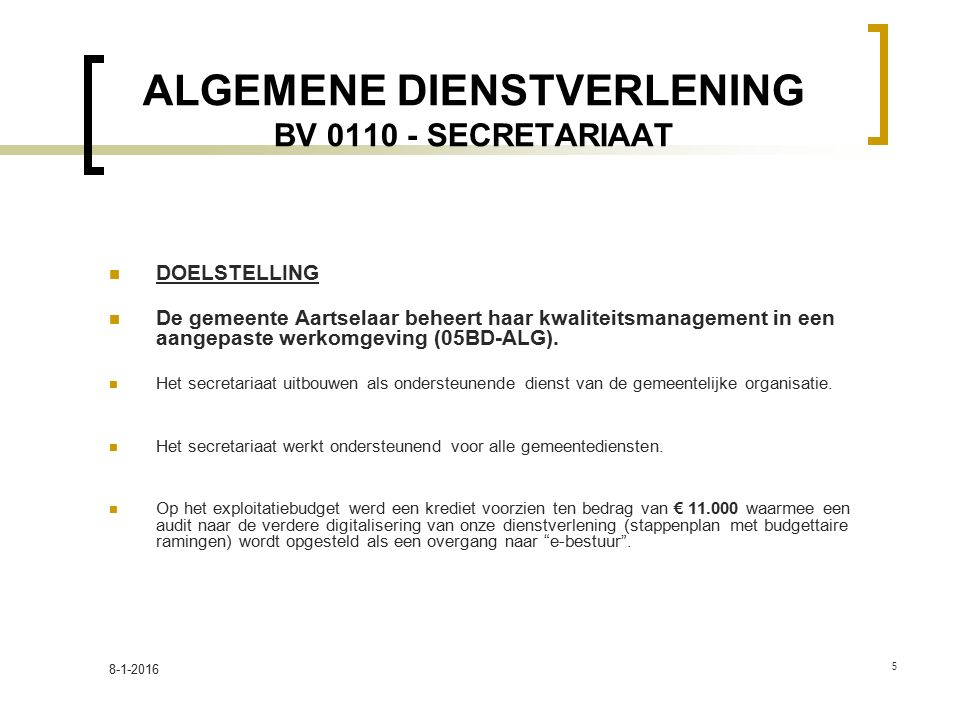 ALGEMENE DIENSTVERLENING BV 0110 - SECRETARIAAT