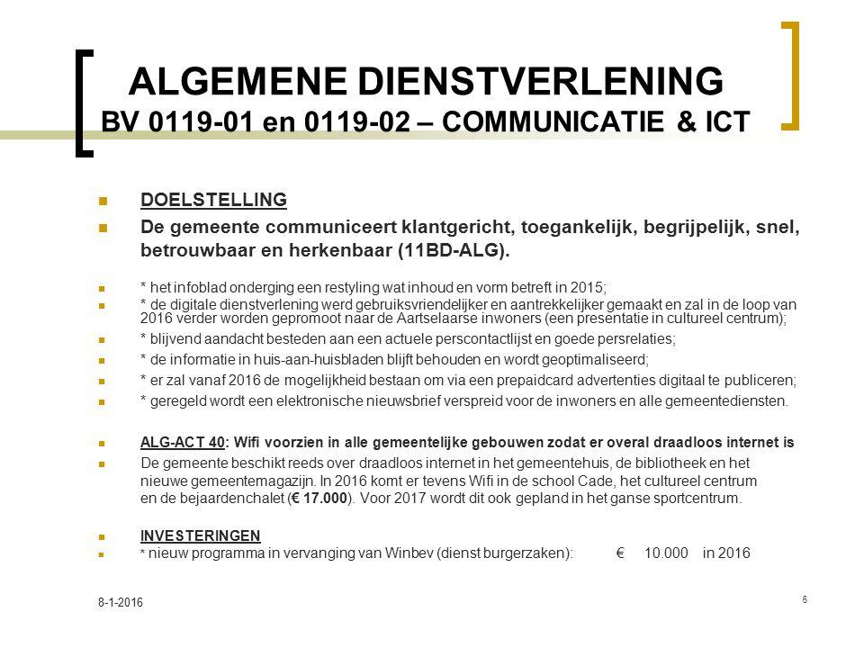 ALGEMENE DIENSTVERLENING BV 0119-01 en 0119-02 – COMMUNICATIE & ICT