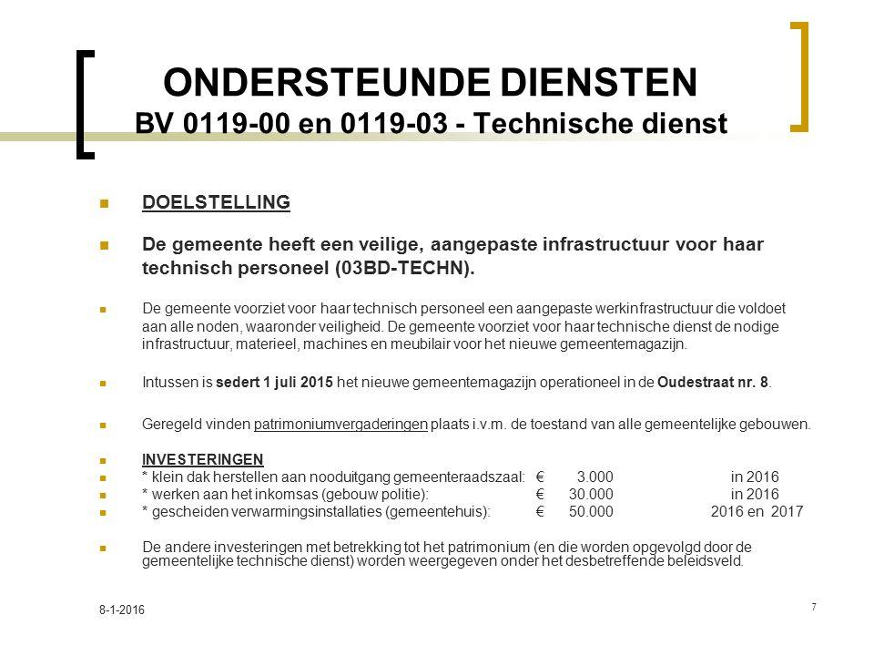 ONDERSTEUNDE DIENSTEN BV 0119-00 en 0119-03 - Technische dienst