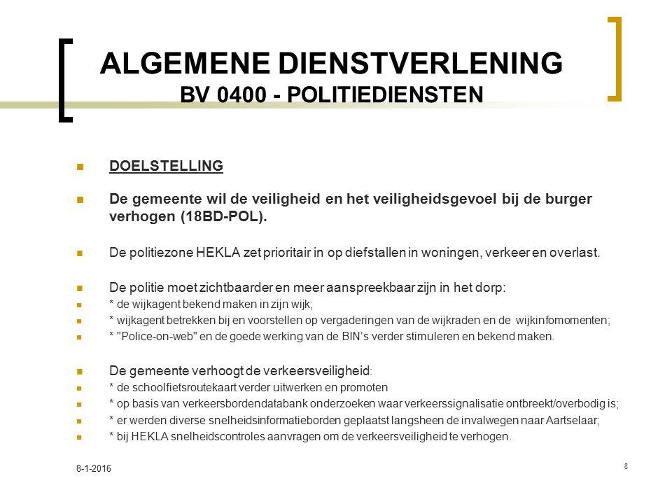 ALGEMENE DIENSTVERLENING BV 0400 - POLITIEDIENSTEN