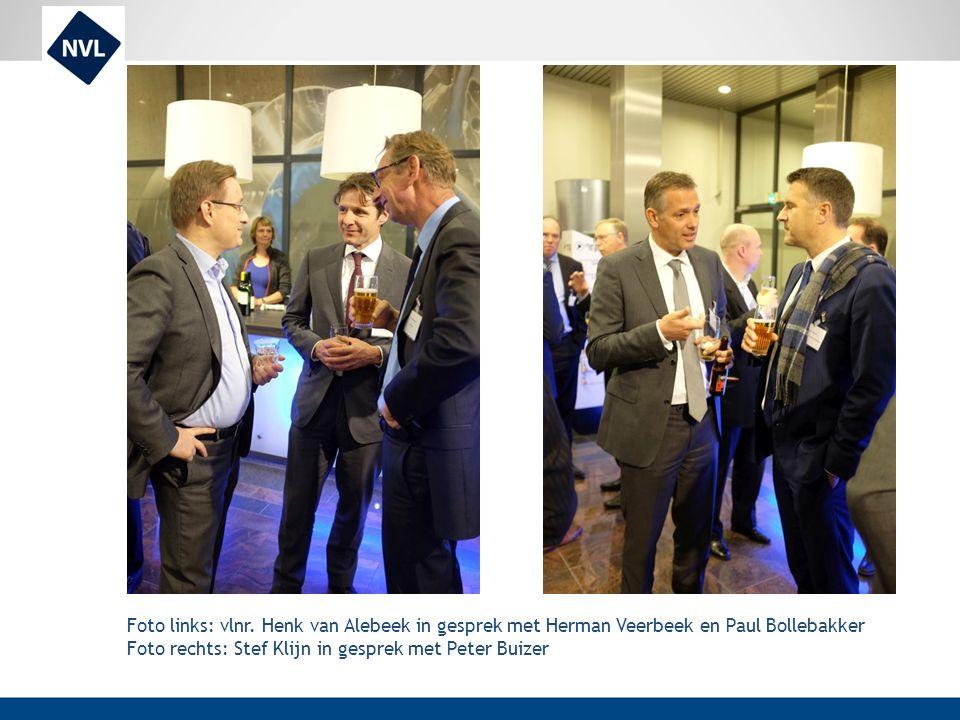 Foto links: vlnr. Henk van Alebeek in gesprek met Herman Veerbeek en Paul Bollebakker