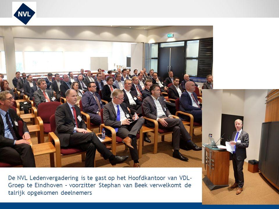 De NVL Ledenvergadering is te gast op het Hoofdkantoor van VDL-Groep te Eindhoven – voorzitter Stephan van Beek verwelkomt de talrijk opgekomen deelnemers