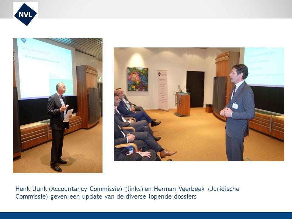 Henk Uunk (Accountancy Commissie) (links) en Herman Veerbeek (Juridische Commissie) geven een update van de diverse lopende dossiers
