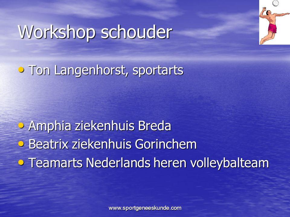 Workshop schouder Ton Langenhorst, sportarts Amphia ziekenhuis Breda
