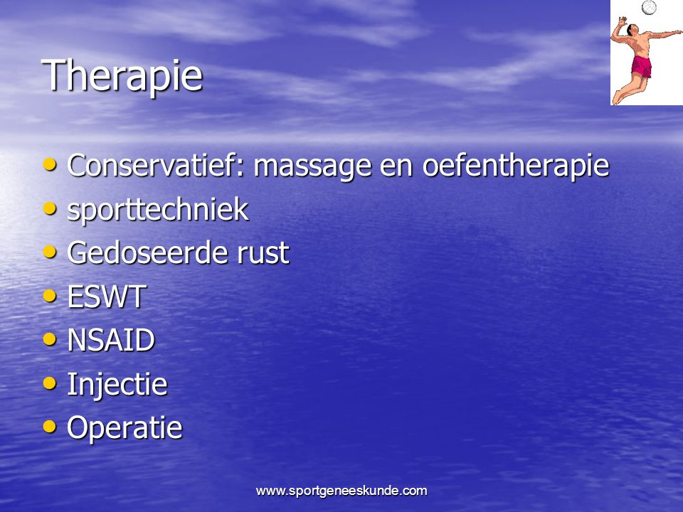Therapie Conservatief: massage en oefentherapie sporttechniek