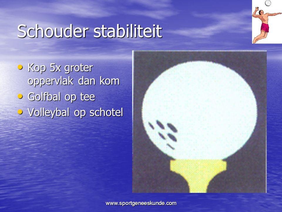 Schouder stabiliteit Kop 5x groter oppervlak dan kom Golfbal op tee