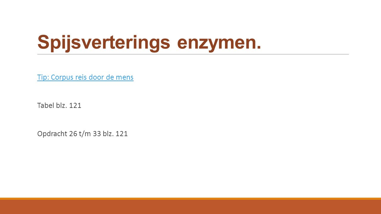 Spijsverterings enzymen.