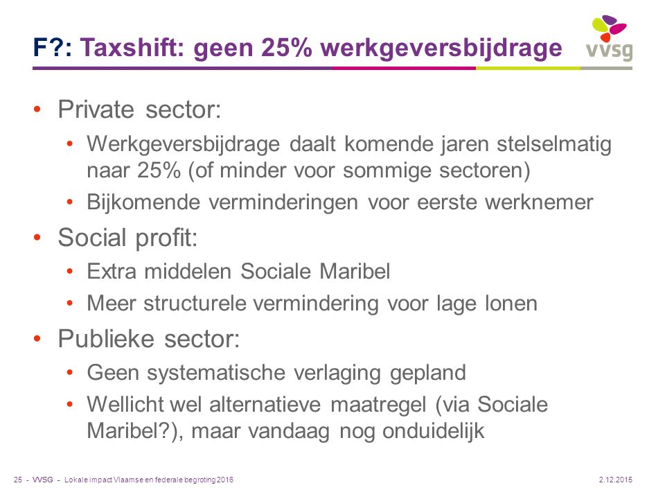 F : Taxshift: geen 25% werkgeversbijdrage