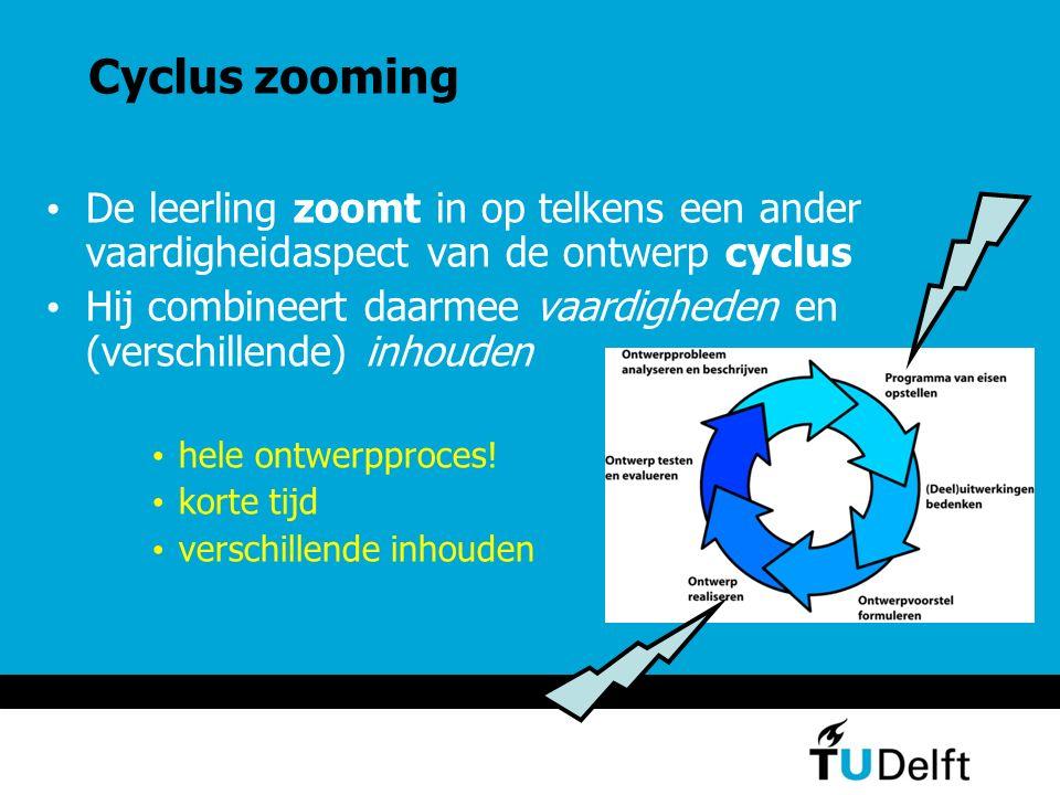 Cyclus zooming De leerling zoomt in op telkens een ander vaardigheidaspect van de ontwerp cyclus.