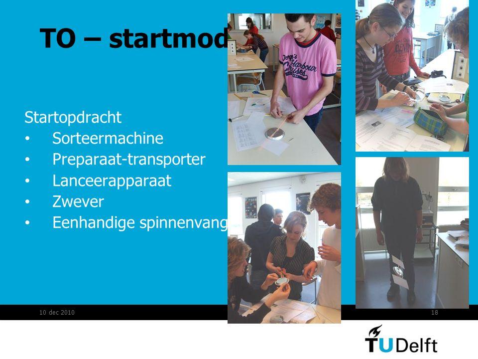 TO – startmodule Startopdracht Sorteermachine Preparaat-transporter