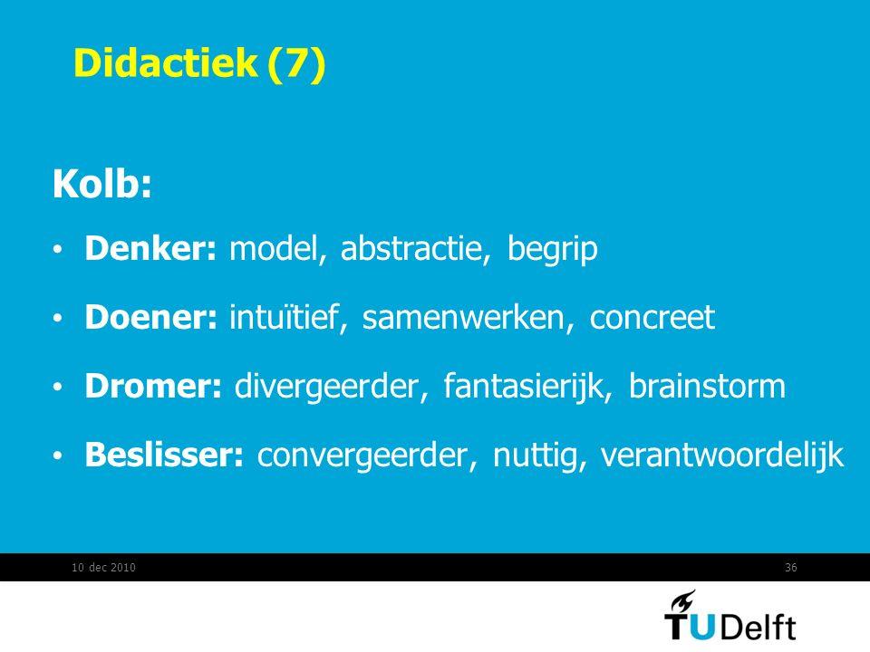 Didactiek (7) Kolb: Denker: model, abstractie, begrip