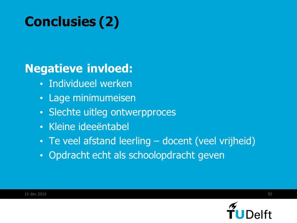 Conclusies (2) Negatieve invloed: Individueel werken Lage minimumeisen