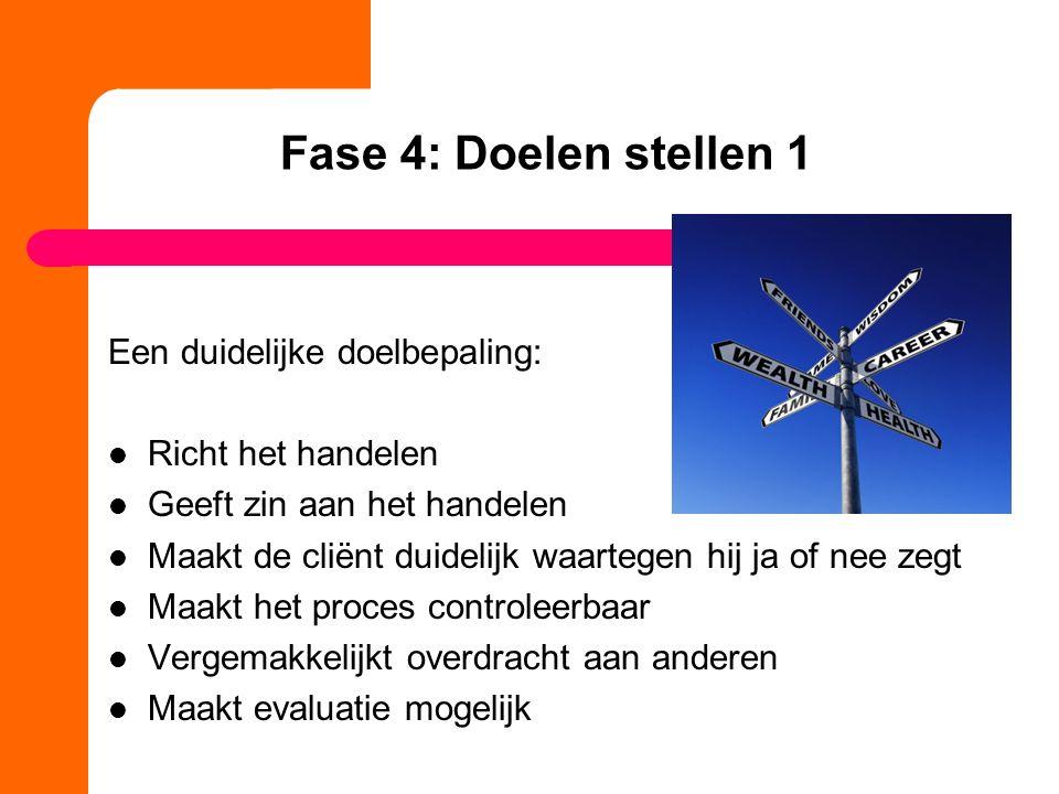 Fase 4: Doelen stellen 1 Een duidelijke doelbepaling: