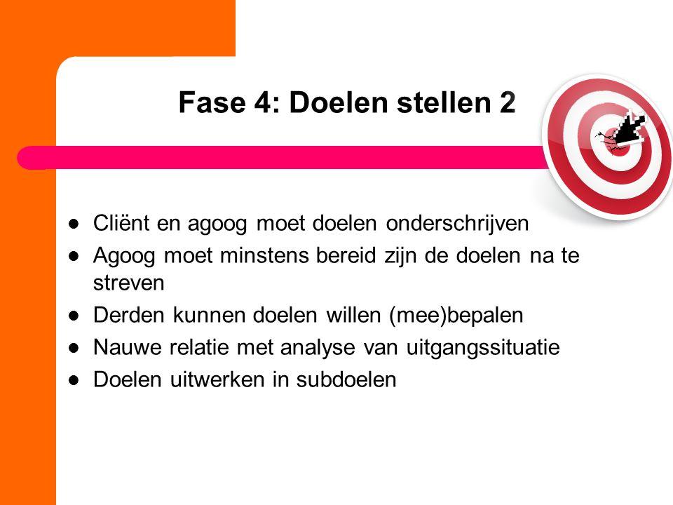 Fase 4: Doelen stellen 2 Cliënt en agoog moet doelen onderschrijven